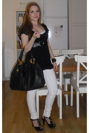 black dune shoes - white Vila leggings - black H&M blouse - black DKNY purse - b