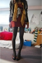 blazer - shirt - dress - tights