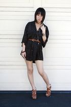 blue thrifted dress - brown Bakers shoes - gold Forever 21 accessories - gold H&