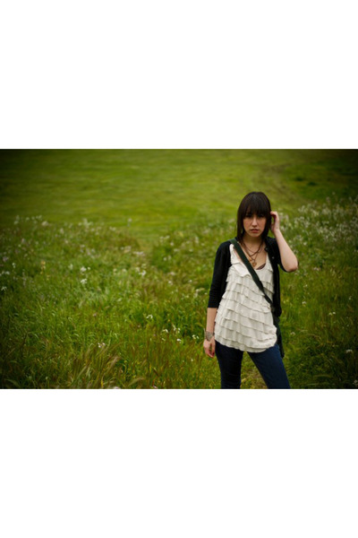 white Kimchi Blue shirt - black BP cardigan - blue Levis jeans - green purse