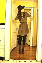olive green thrifted dress - dark brown thrifted boots