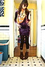 Deep-purple-velvet-thrifted-h-m-dress-brown-boots-dark-brown-tights