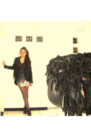black strawberry jacket - gray Zara tights - black Aldo shoes - black Zara purse