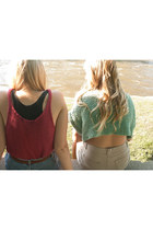 turquoise blue meg knits knitted crop top top