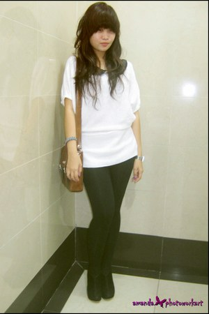 knit top - tights - bag - blouse - bracelet - ankle boots wedges