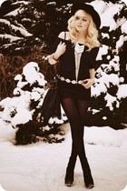 black skirt - silver necklace