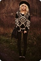 beige sweater - black boots