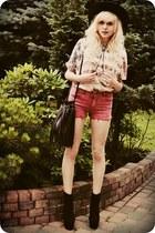 white t-shirt - black boots - crimson shorts