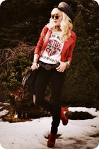 ruby red jacket - black jeans - white t-shirt