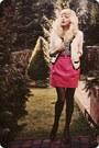 White-cardigan-hot-pink-skirt-black-heels