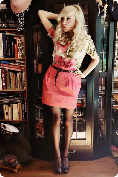 olive green shirt - hot pink skirt - dark brown heels