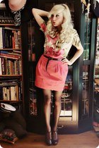 olive green shirt - hot pink skirt - dark brown heels
