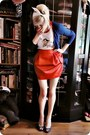 Navy-cardigan-white-top-red-skirt