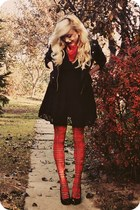 black jacket - ruby red tights