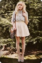 light yellow skirt - periwinkle shirt - brown bag