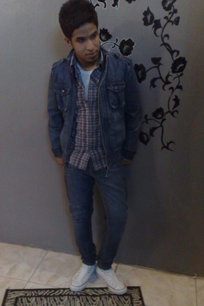 blue Bossini jacket - gray Bossini shirt - blue Topman jeans - white Converse sh