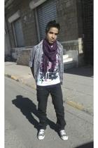 scarf - Lee Cooper t-shirt - Bossini shirt - Bossini jeans - Converse shoes