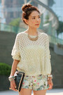 Aquamarine-knitted-cardigan-black-gold-studs-bag