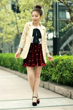 beige polka dots cuff blazer - ruby red H&M bag - black heels - ruby red skirt