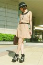 Tan-h-m-dress-black-tie-rack-hat-dark-brown-satchel-bag-black-bobby-socks