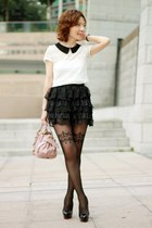 black lace tulle skirt - light pink bow satchel Miu Miu bag - white Primark top