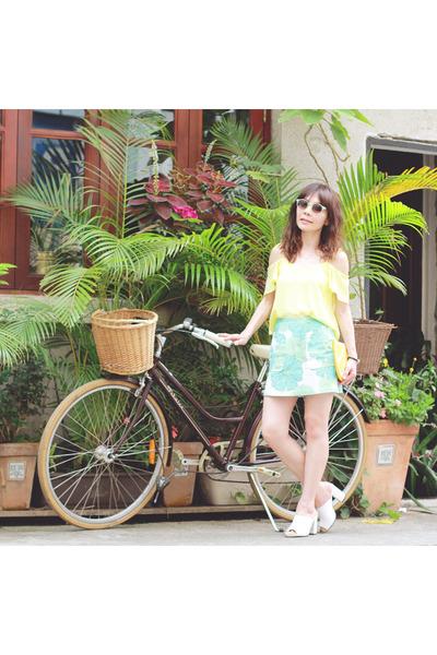 lime green embellished Topshop sunglasses - yellow lemon clutch Monki bag