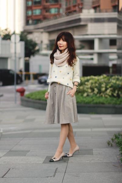 white pom-poms lowrys farm sweater - beige infinity H&M scarf