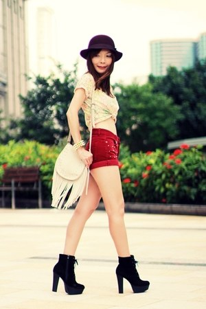 black suede lace-up boots - maroon H&M hat - beige Stradivarius bag