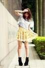 Black-lace-up-boots-yellow-sheinside-skirt-silver-crosses-necklace