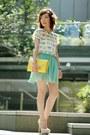 Light-yellow-bag-aquamarine-pleated-chiffon-skirt-white-zara-top