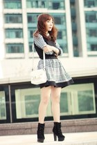 white Sheinside dress - black suede lace-up boots