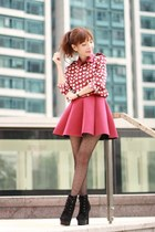 black suede lace up boots - ruby red hearts print Choies shirt