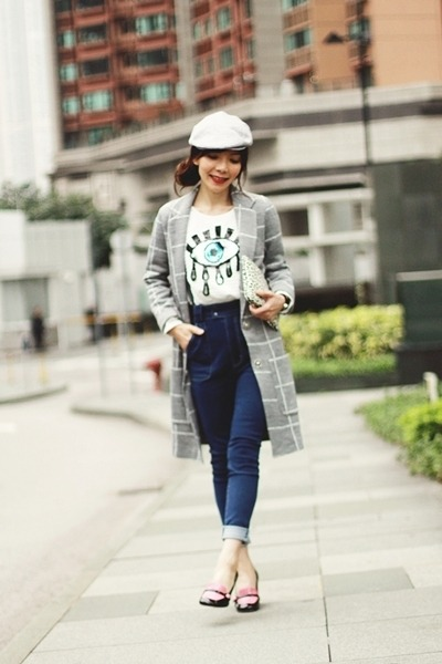 heather gray checkered Topshop coat - blue high-waisted Murua jeans