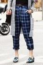 Heather-gray-checkered-topshop-coat-maroon-pom-pom-beanie-local-store-hat