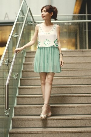 aquamarine skirt - Choies bag - silver Bershka heels - white Sheinside top
