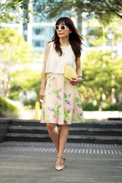 light pink Choies skirt - yellow lemon Monki bag - white Zara sunglasses