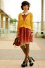 Coral-lace-h-m-dress-dark-brown-lids-hat-brown-alexa-mini-mulberry-bag