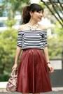 Light-pink-miu-miu-bag-black-sheinside-top-maroon-sheinside-skirt