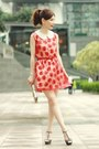 Red-floral-lace-dress-bronze-bag-off-white-h-m-accessories