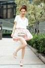 Light-pink-thai-silk-skirt-light-pink-bow-polka-dots-red-valentino-bag