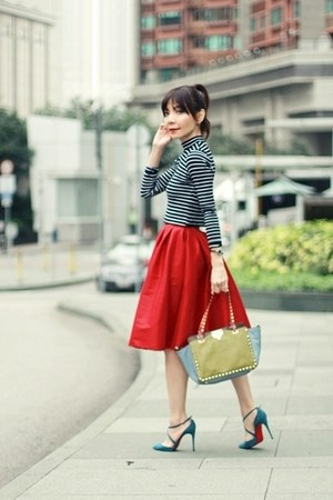 red midi full skirt Choies skirt - lime green rockstuds Valentino bag