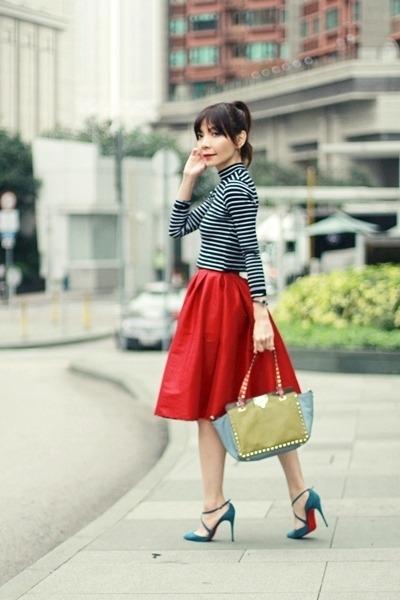 red midi full skirt Choies skirt - lime green rockstuds Valentino bag