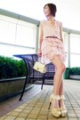 Light-pink-chiffon-ruffles-dress-off-white-bag-white-polka-dots-socks