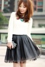 White-cable-knit-h-m-sweater-black-studded-clutch-bag