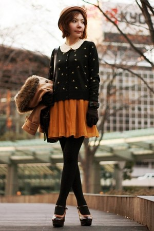 mustard pleated Monki skirt - camel bowler hat hat - dark brown satchel bag