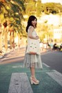 White-choies-necklace-silver-midi-tulle-skirt-white-diy-top