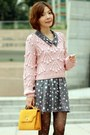 Light-pink-wool-marblee-sweater-navy-polka-dots-ingni-dress-mustard-bag