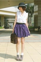 deep purple embroidered Zara skirt - silver suede lace-up shoes