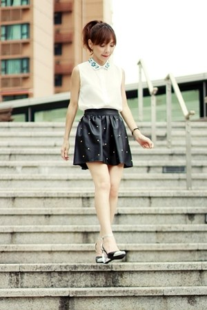 black skirt - white Sheinside shirt - silver Choies heels