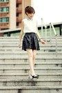 White-sheinside-shirt-silver-choies-heels-black-skirt